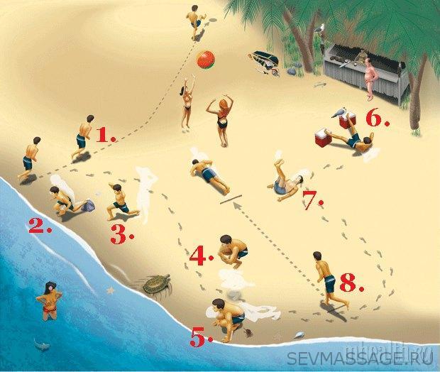 8 упражнений на пляже